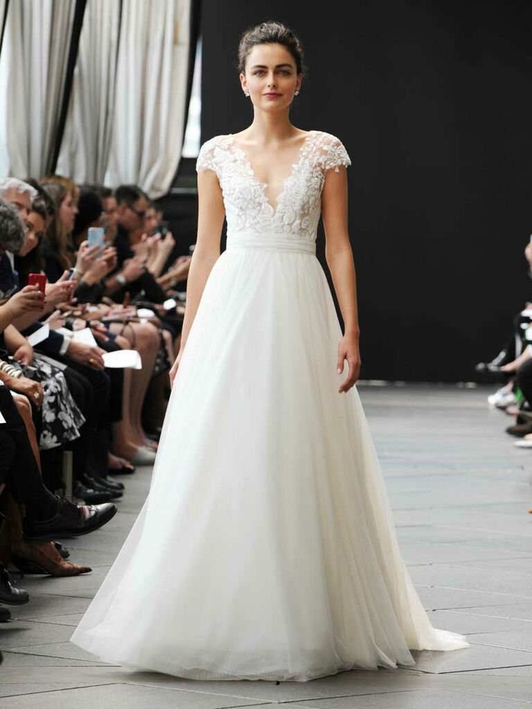 ec8a80527ef Nouvelle Amsale Spring 2019 wedding dress with lace bodice and tulle ball  skirt
