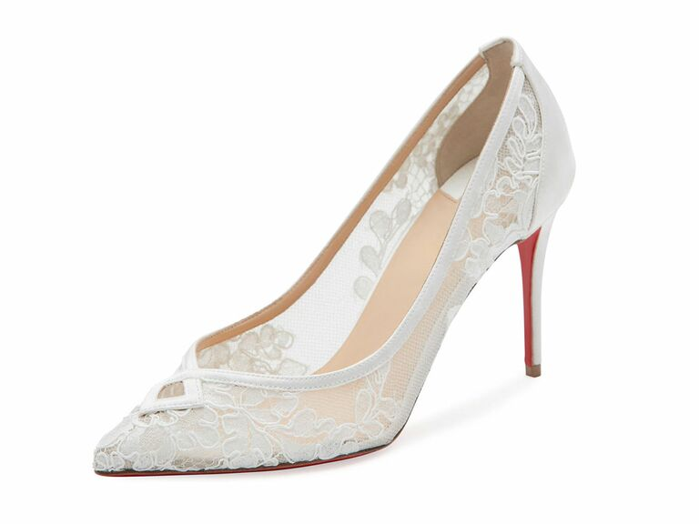 Christian Louboutin lace white wedding shoe
