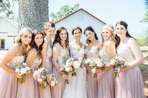 Sequined Lace Blush Watters Bridesmaid Dresses