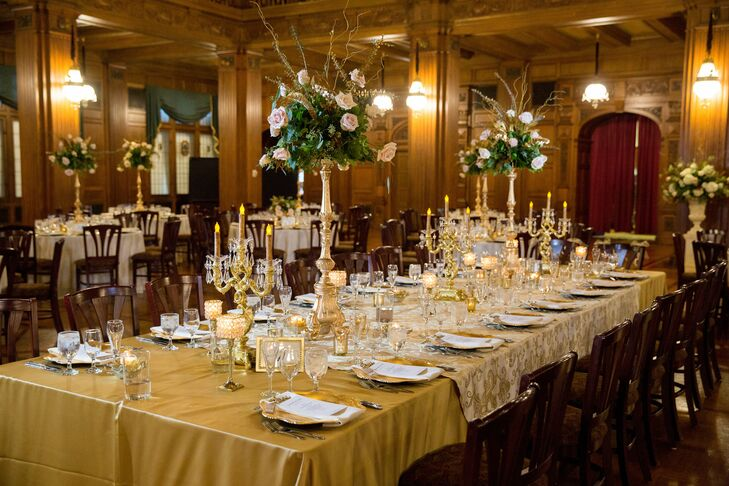 The goal of creating a classy, elegant celebration was accomplished through gold chargers, candelabras, linens, centerpieces and party favors.