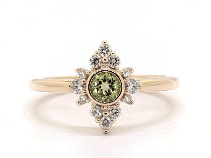 Lace peridot and diamond engagement ring