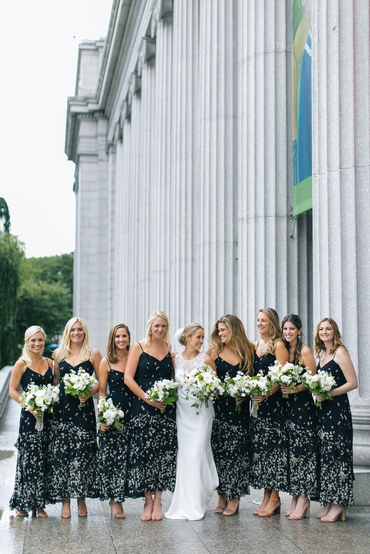 Bridesmaids in Tea-Length Black Patterned Dresses