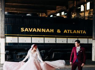 "For their industrial-chic wedding, Hana and Eddie Holecko drew inspiration from the Tim Burton movie <i>Big Fish </i>—""whimsical, romantic and a bit m"