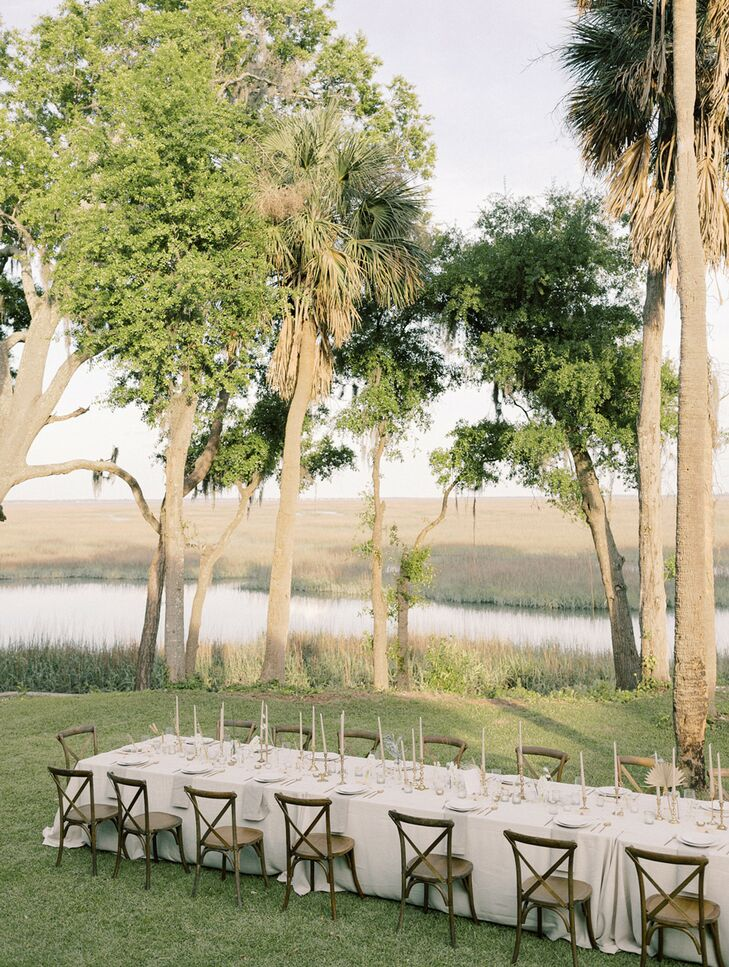 Sunset During Waterfront Wedding Reception at Private Estate in Savannah, Georgia