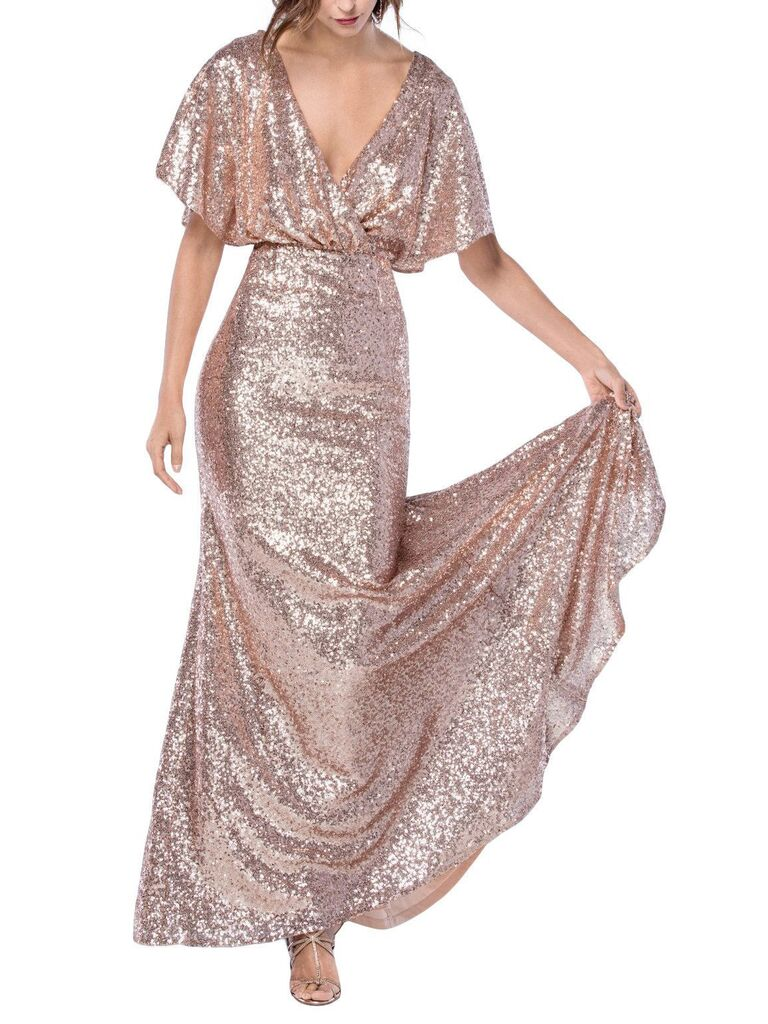 Rose gold sequin bridesmaid dress with flutter sleeves