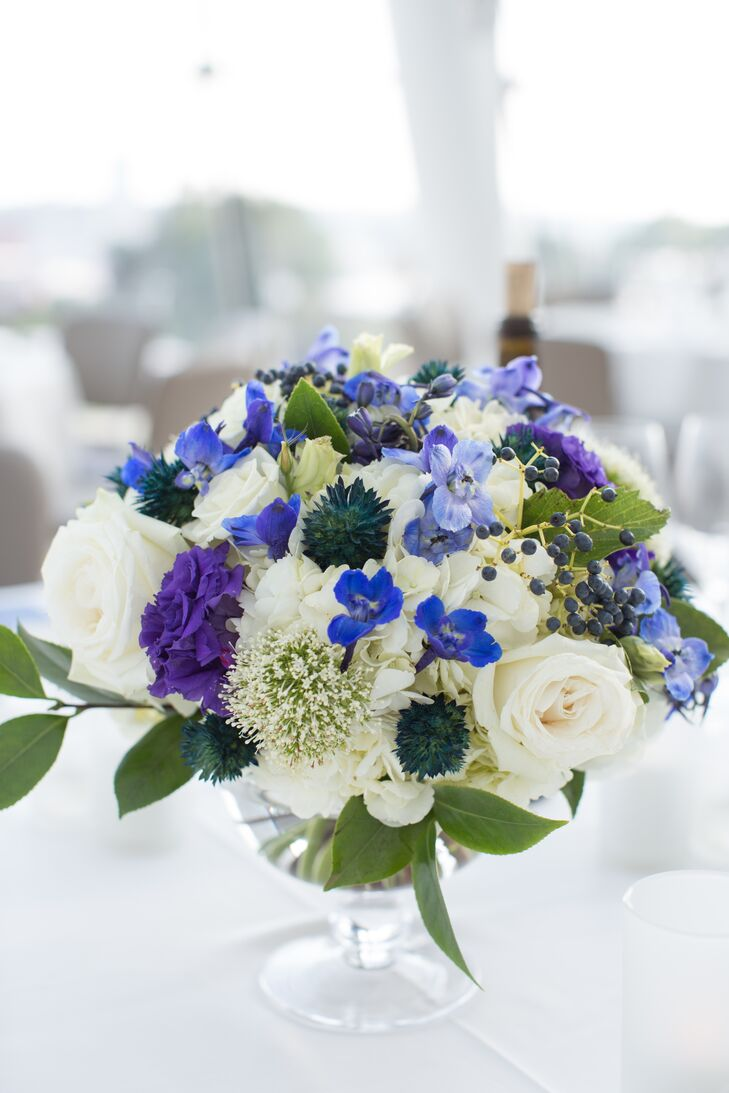 Textured Ivory and Blue Rose and Thistle Centerpieces