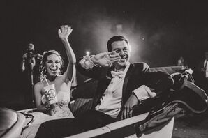 Glamorous Bride and Groom Exit in Classic Convertible