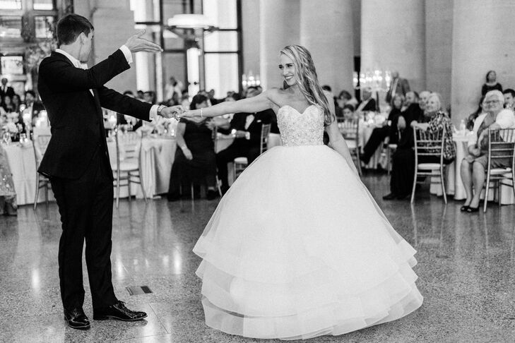 Tiered Hayley Paige Ball Gown with Embellished Strapless Bodice