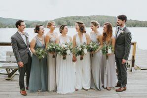 Mismatched Gray Chiffon Bridesmaid Dresses