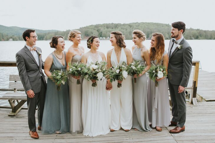 Mismatched Gray Chiffon Bridesmaid Dresses