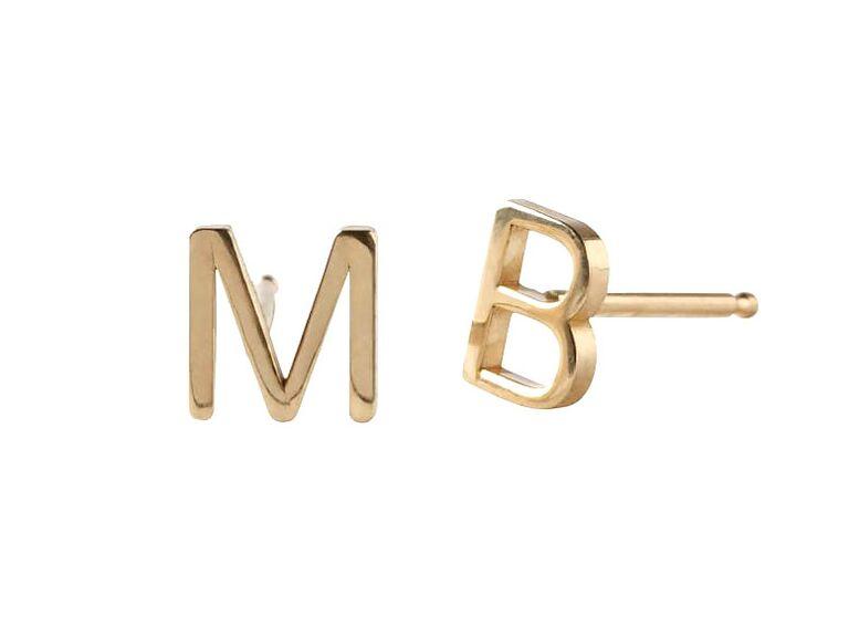 Maya Brenner initial earrings wedding gifts for bride