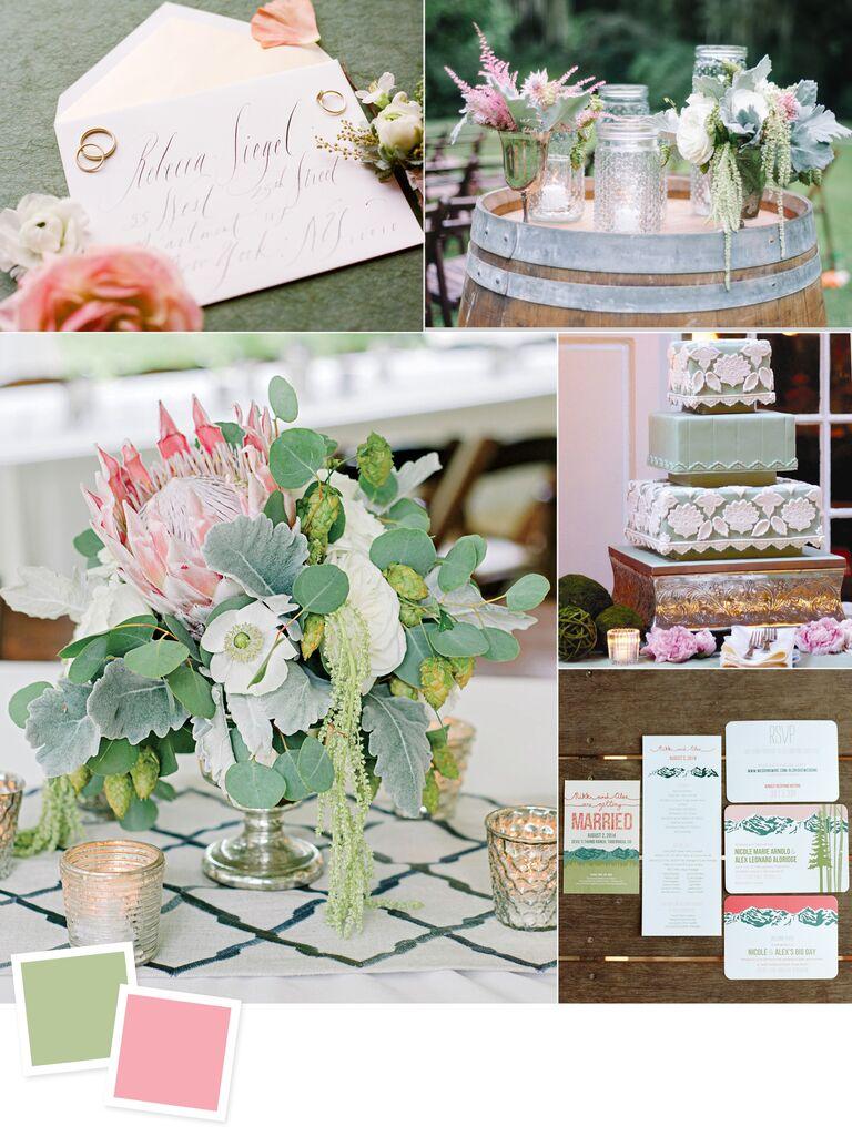 Sage and peony wedding colors