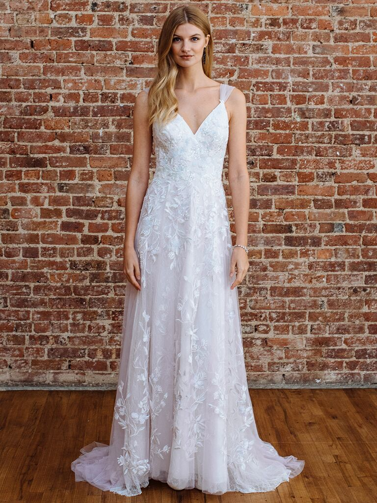 Melissa Sweet Fall 2018 Sleeveless A Line Wedding Dress With Leaf Motif And Tulle Straps