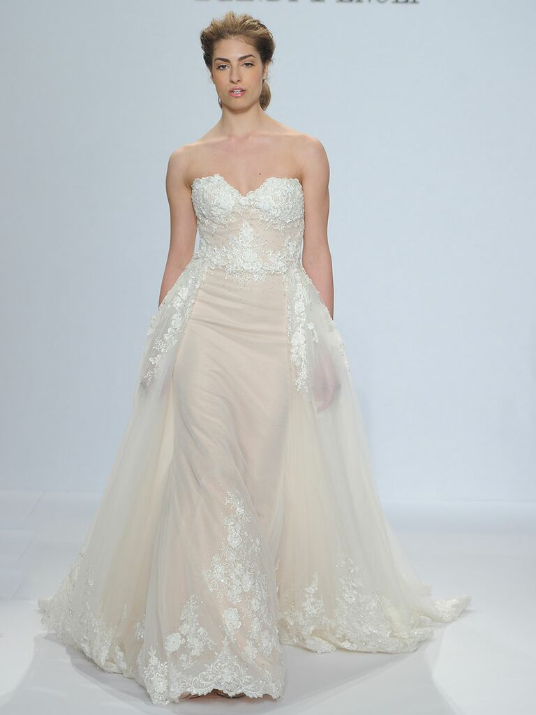 Randy Fenoli Spring 2018 strapless sweetheart wedding dress with detachable box-pleated tulle overskirt, pockets and 3-D embroidery and lace