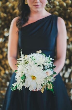White Dahlia,  Gold Seeded Eucalyptus Bouquet