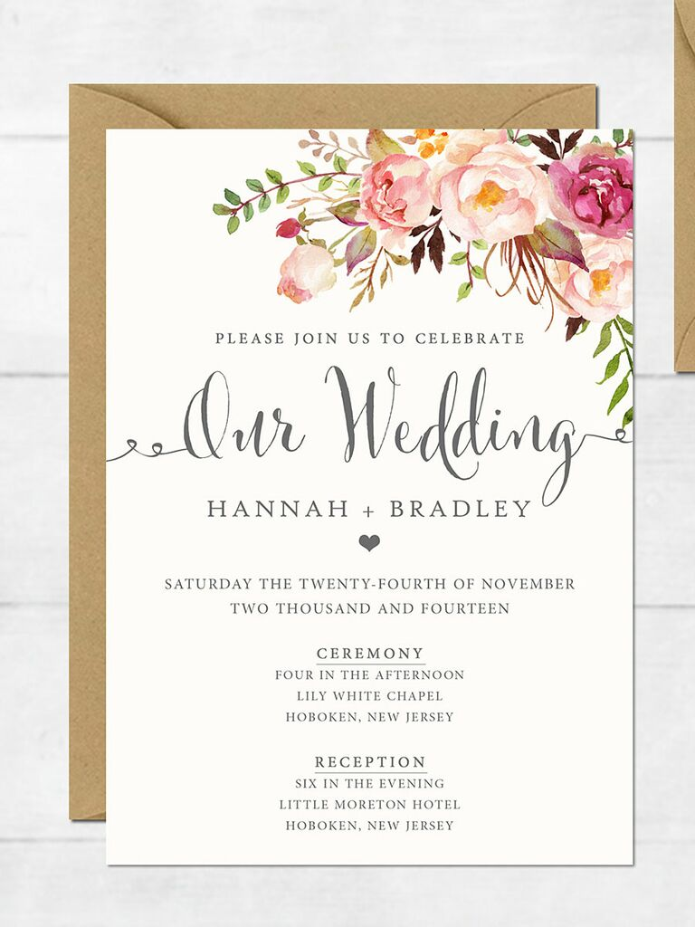 16 printable wedding invitation templates you can diy floral romance wedding invitation stopboris Gallery