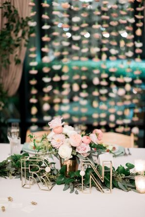 Centerpiece with Initials, Pastel Peonies and Roses