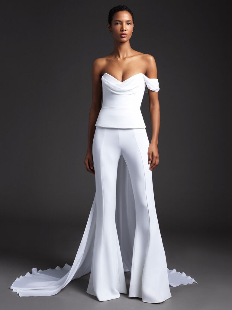 Cushnie Spring 2020 Bridal Collection asymmetrical bridal look with flared pants