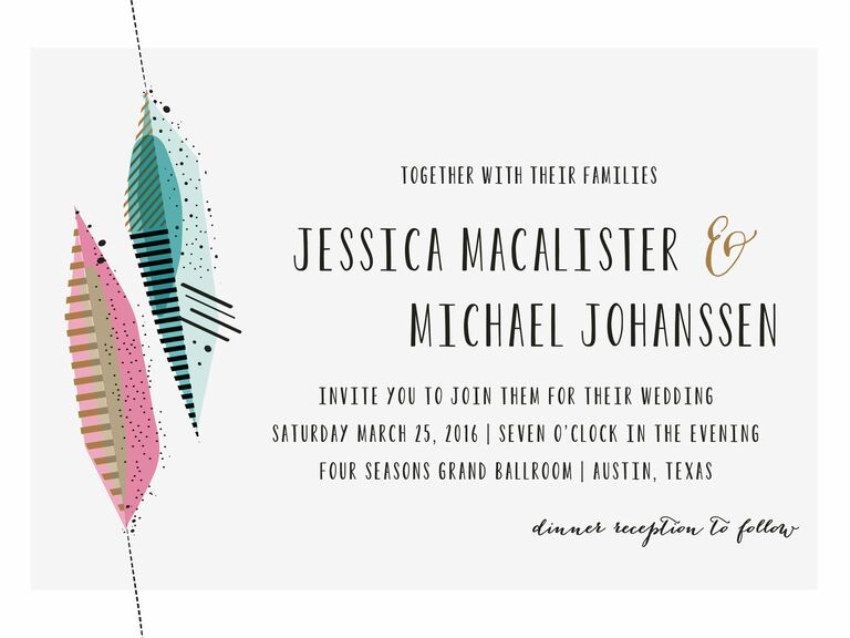 artsy feather printable wedding invitation from minted