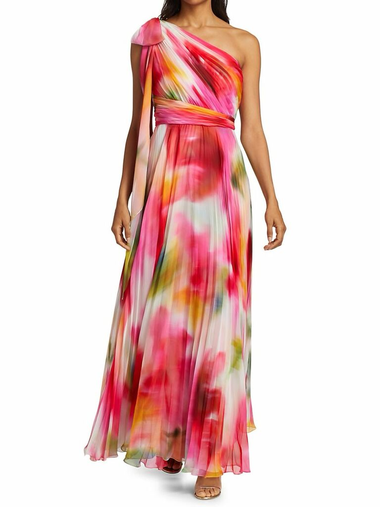 One-Shoulder chiffon pleated gown with floral print