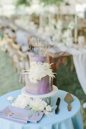 Purple Watercolor Cake With Modern Topper and White Flowers