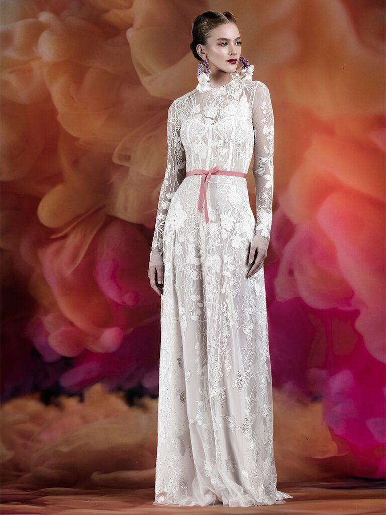 Naeem Khan wedding dress lace a-line dress with illusion neck