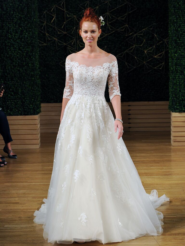 Maggie Sottero Spring 2018 A-line lace wedding dress with illusion scoop neckline