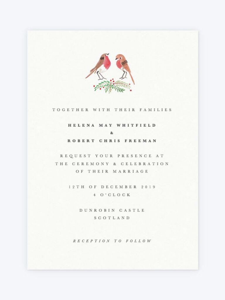 Papier robin spring wedding invitation