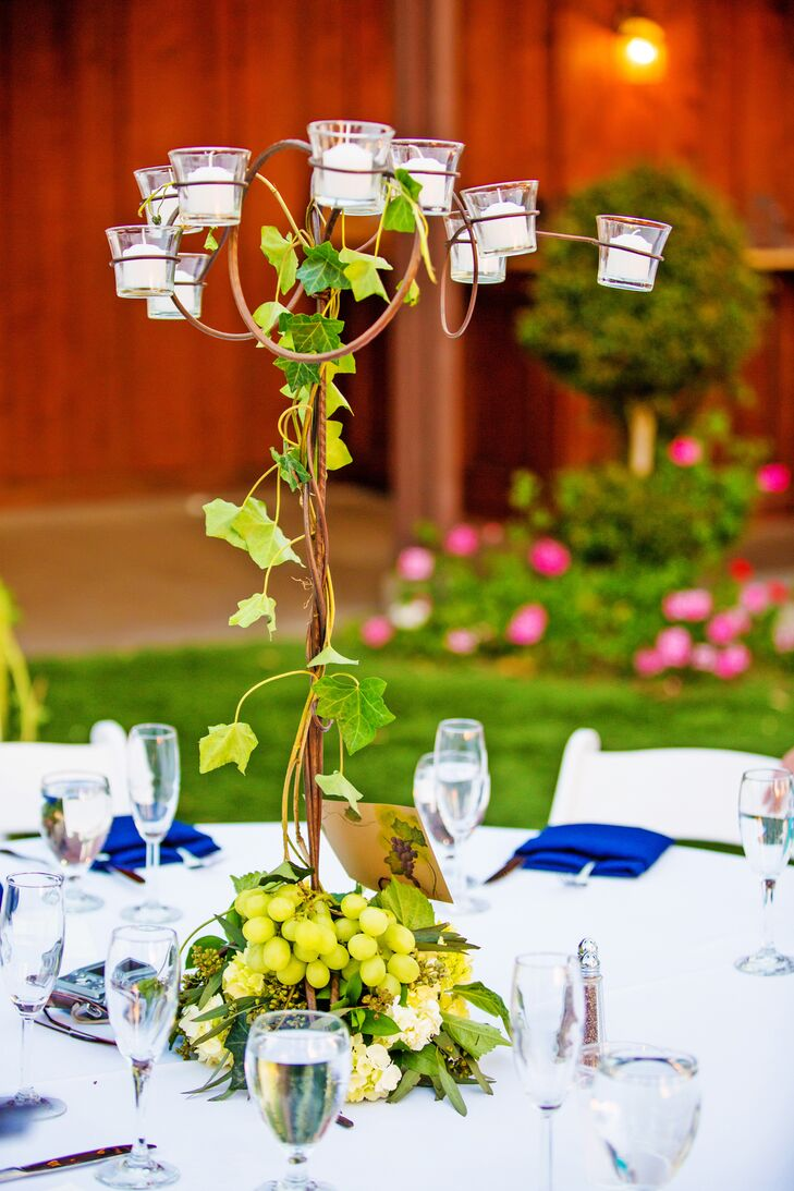 Vine and Grape Centerpieces with Votive Candles