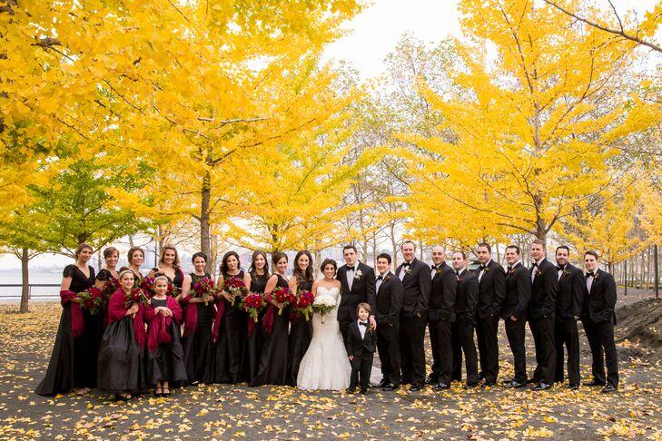 Bride, Groom Wedding Party Outdoor Photo