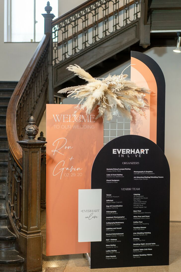 Orange-and-Black Welcome Sign for Reception at the Everhart Museum in Scranton, Pennsylvania