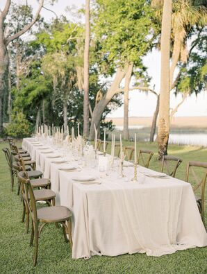 Reception Table with Neutral Linens Overlooking the Water