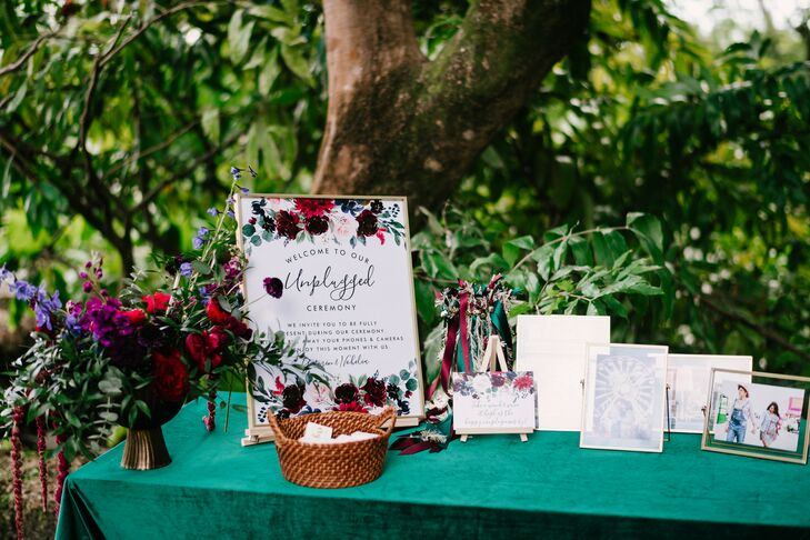 Unplugged Sign for Wedding in Miami, Florida