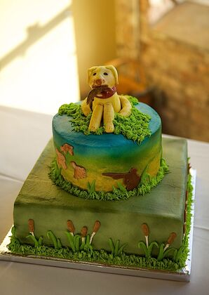 Dog-Accented Two-Tier Groom's Cake