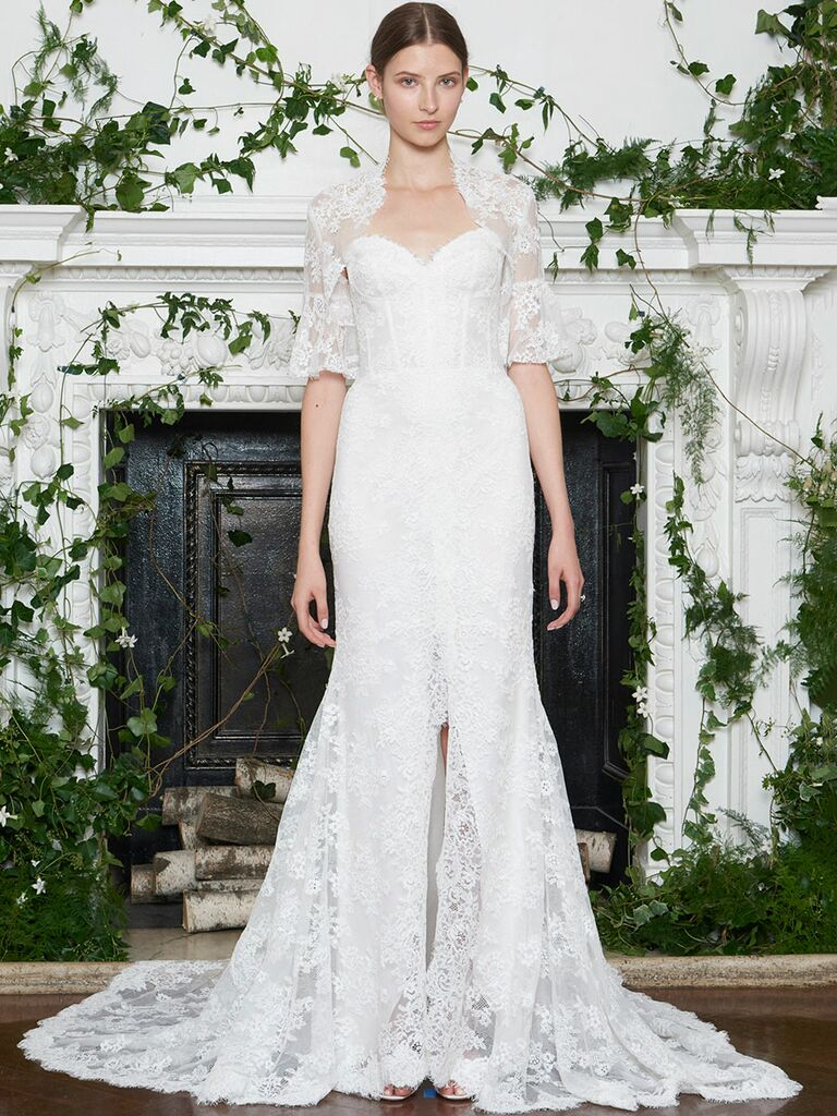 Monique Lhuillier Fall 2018 lace sweetheart wedding dress with elbow-length detachable lace jacket