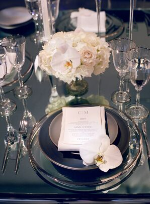 Modern Place Setting with Gray Chargers, Menu and Orchids