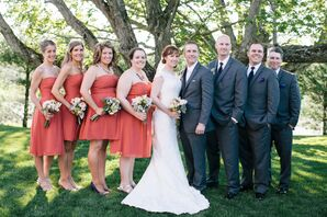Persimmon Chiffon Bridesmaids Dresses