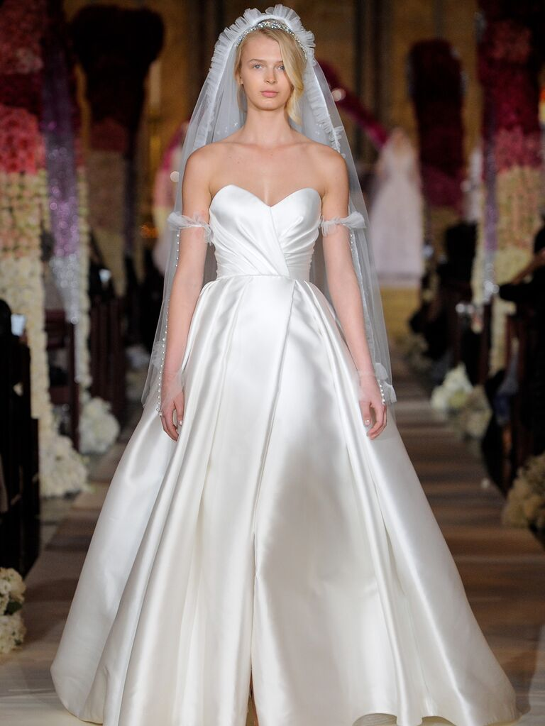 Reem Acra Spring 2020 Bridal Collection A-line off-the-shoulder wedding dress