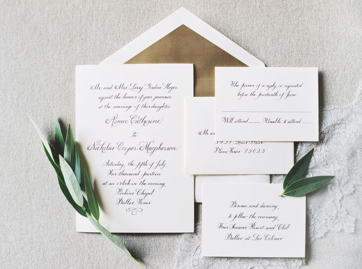 The wedding invitations were hand-calligraphed by Lana Prather and engraved on crane paper. The rest of the suite was custom-designed with gray accents to complement the gray and blush pink wedding colors.