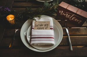 Rustic Red and Green Table Setting