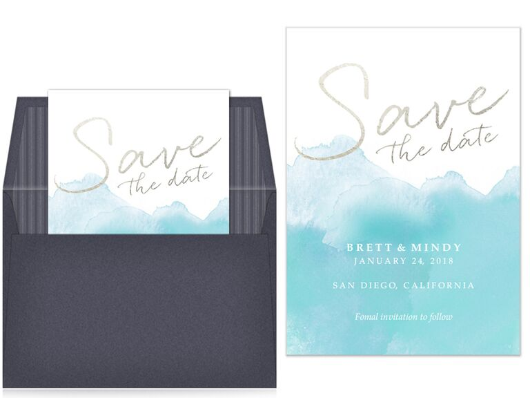 Pingg blue watercolor and gold foil digital save-the-date
