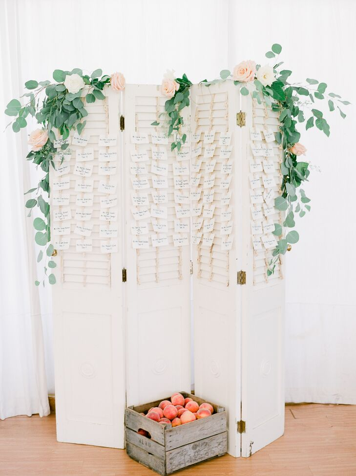 Shutter Escort Card Display with Roses, Eucalyptus and Crate of Peaches