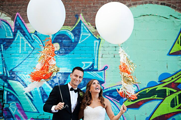 Gold, Orange and White Tassel Balloons