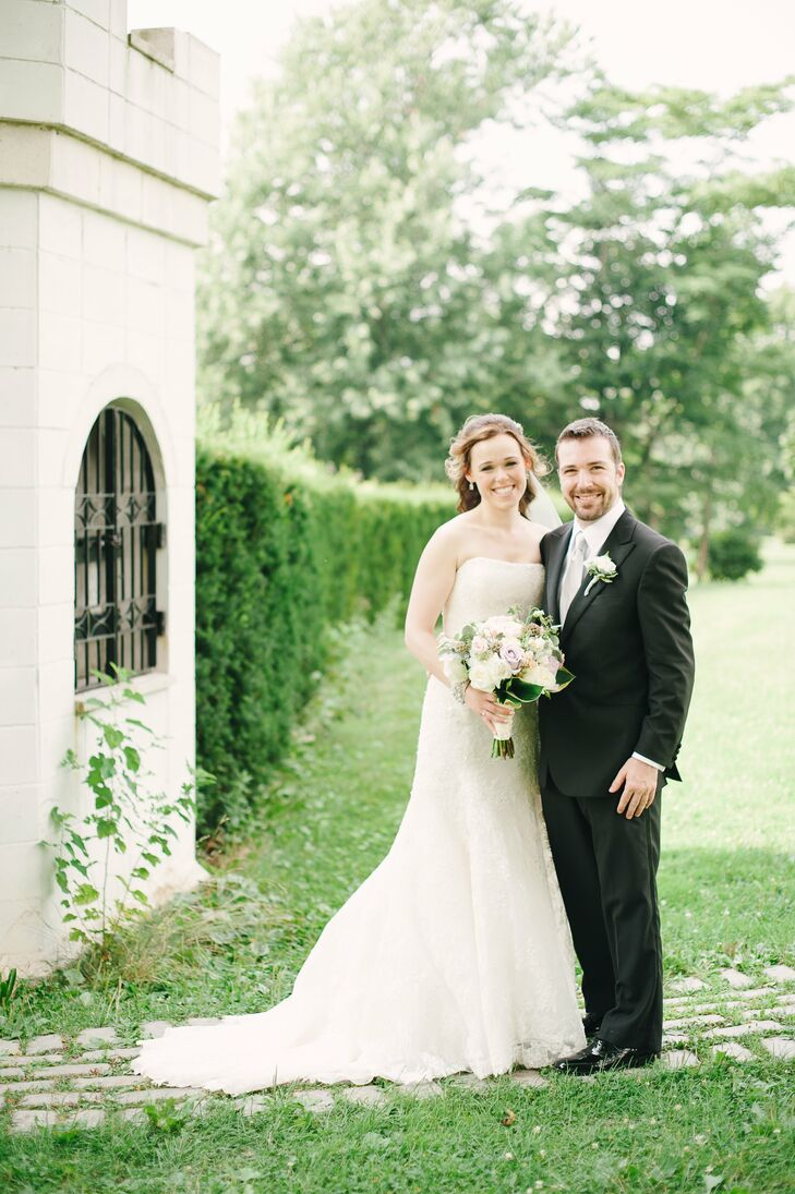 Tara and Evan exchanged vows in the Tuscan Garden at Snug Harbor and brought the beauty of the garden into the reception decor with a floral theme. Ev