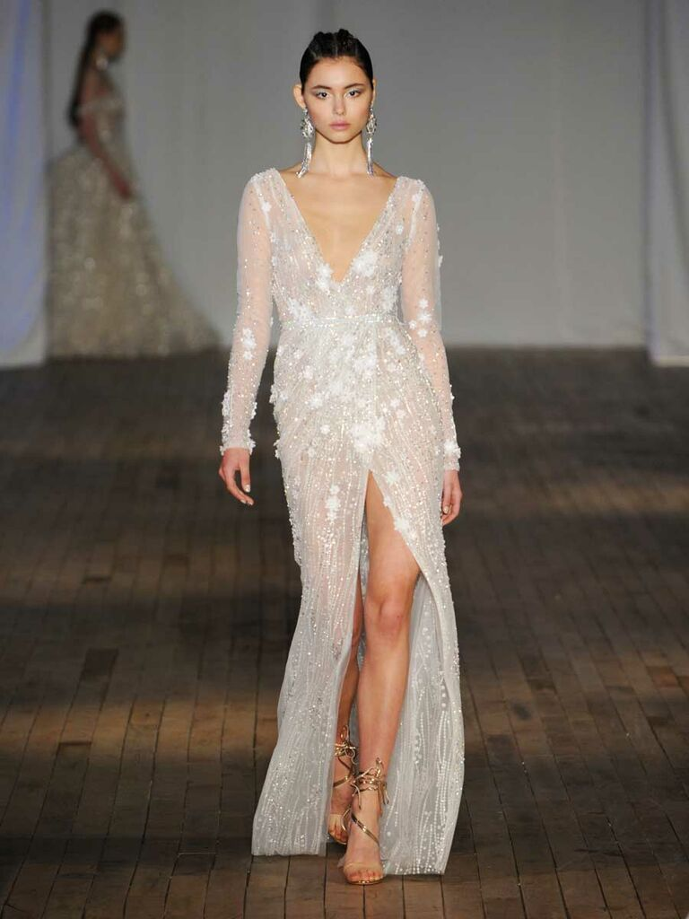 6e4bbfd7 Berta Spring/Summer 2019 Collection sequin wrap wedding dress with long  sleeves and slide slit