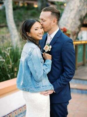 Bride in Denim Jacket for Wedding at Rancho Las Lomas in Silverado, California