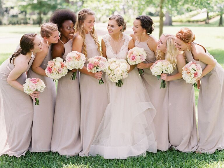 Bridesmaids with matching jewelry