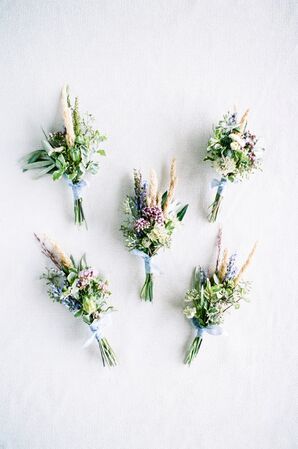 Boho Blue and Green Boutonnieres