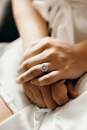 Vintage Flower-Shaped Diamond Engagement Ring