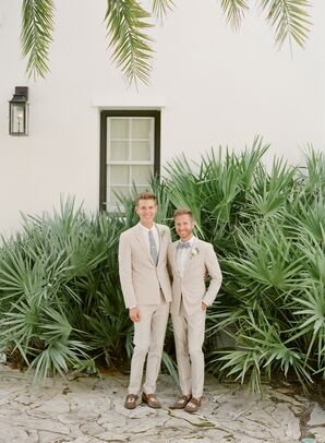 Grooms in Matching Linen Suits and Personalized Shoes